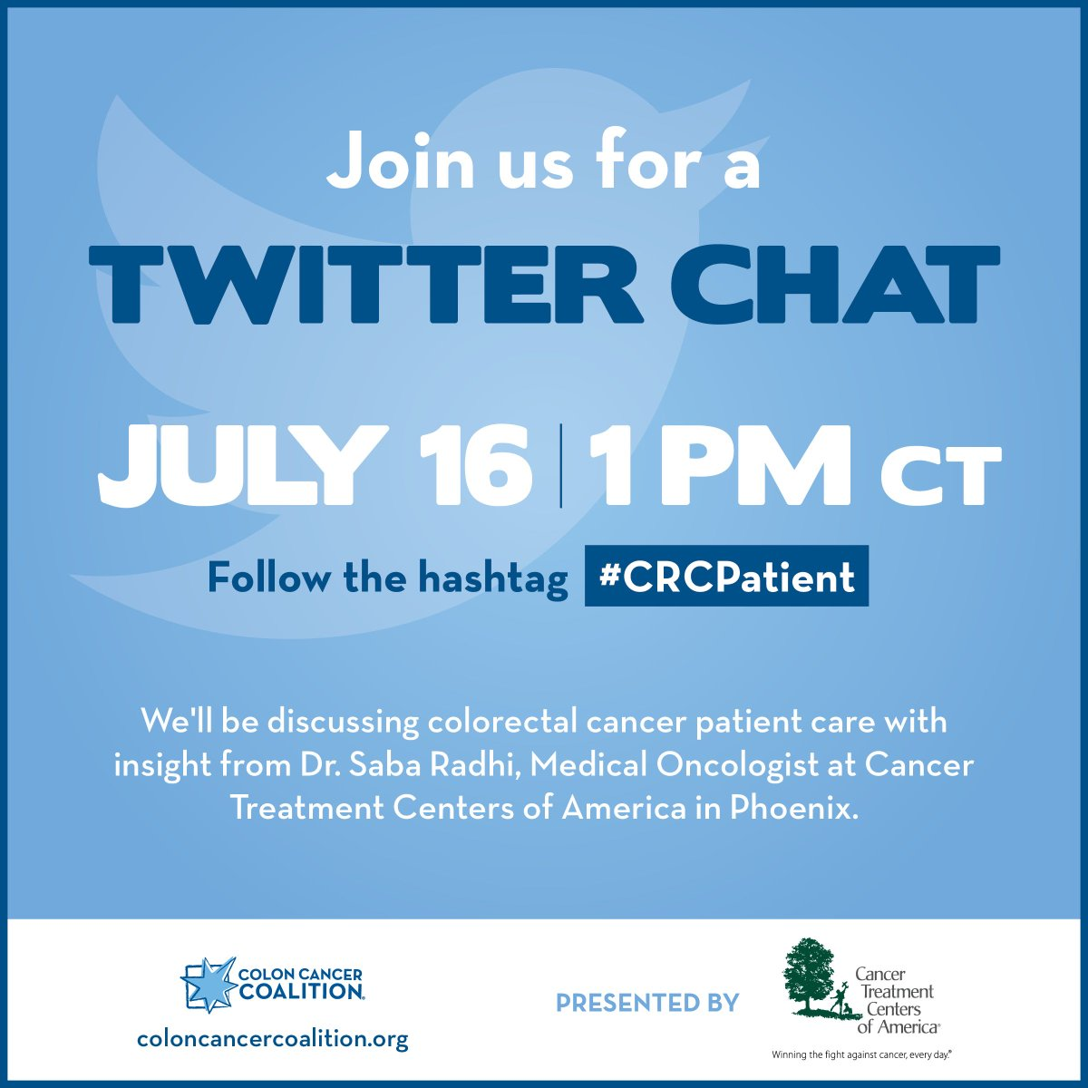 Colon Cancer Coalition On Twitter Join Us For A Crcpatient Twitter Chat July 16 1 P M Ct We Re Discussing Fertility Preservation Tumor Markers Genetic Testing Clinical Trials And Recurrence With Dr Saba