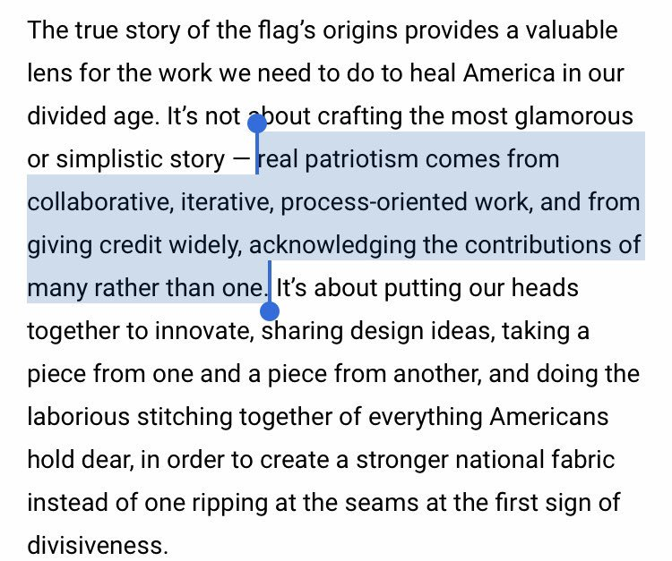 "This #FlagDay, sharing a piece I wrote last year for @BrdgAllianceUS that still holds true.   ""The Flag's History: A Model of Collaboration and Process"" https://www.bridgealliance.us/flag_day   Great timing as we open nominations for the #Civvys Awards on Monday. 🇺🇸"