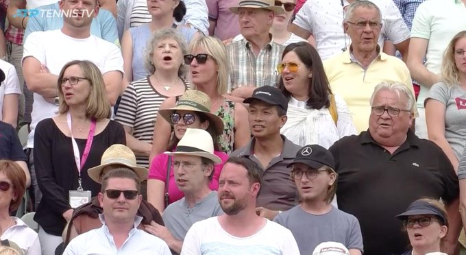 They just sang Happy Birthday (in English) to Steffi Graf who (gulp) turns 50 today, in Stuttgart.