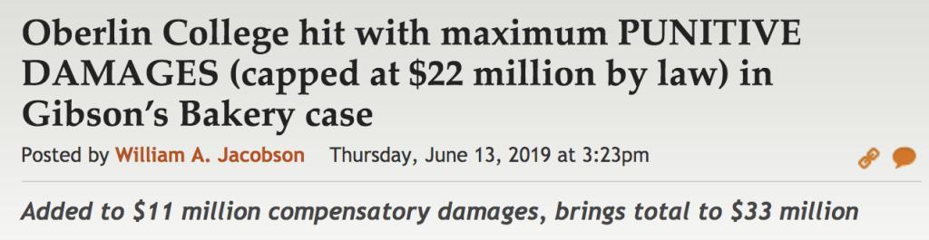 Oberlin given maximum punitive damages for wokeness stupidity. Total bill: $11.2 million + $33 million = $44.2million https://whyevolutionistrue.wordpress.com/2019/06/14/oberlin-given-maximum-punitive-damages-for-wokeness-stupidity-total-bill-11-2-million-33-million-44-2-million/…
