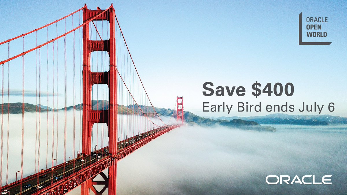 Don't let time run out on the Early Bird discount to #OOW19. Register by July 6 and save $400: oracl.info/mgBO50uE76d