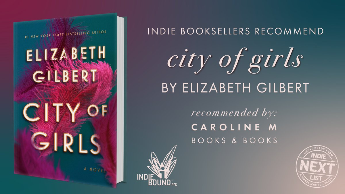 """""""#CityOfGirls is a champagne cocktail, a tonic for anything that ails you, and the summer read you can't miss! Leaves the reader braver, freer, and, at least for the moment, happier."""" —Caroline, @BooksandBooks ✨  Discover @GilbertLiz's glittering latest: http://bit.ly/CityOfGirlsNovel…"""