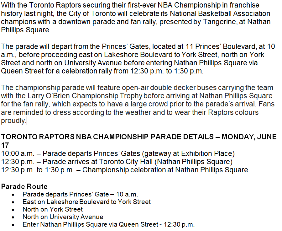 Many of us #Bball lifers propose that @JustinTrudeau declare Monday an official #LoadManagementDay for any Canadian attending the @raptors championship parade.