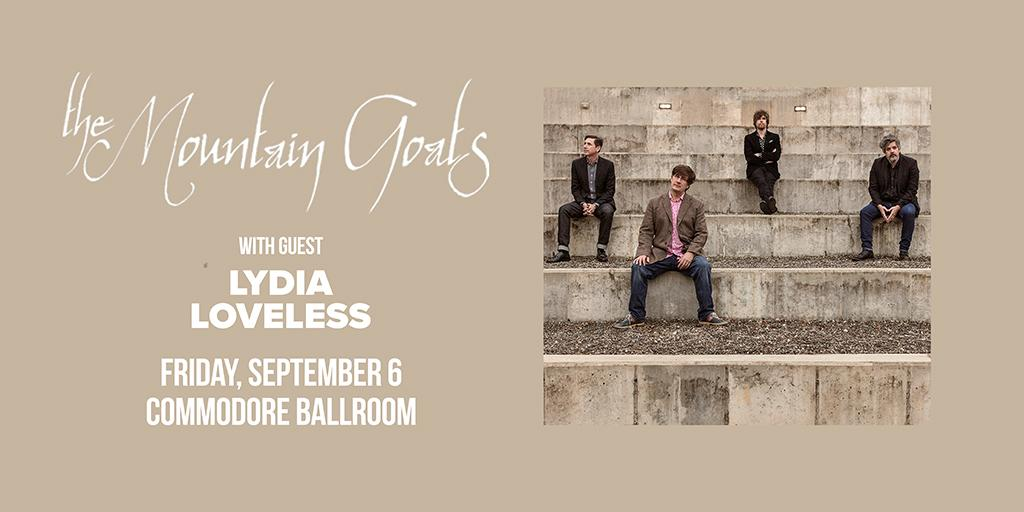 SUPPORT ADDED: @lydia_loveless will open the show! Get your tickets for @mountain_goats on Friday, Sept. 6 at the @CommodoreVCR now: http://bit.ly/2wSYbMl