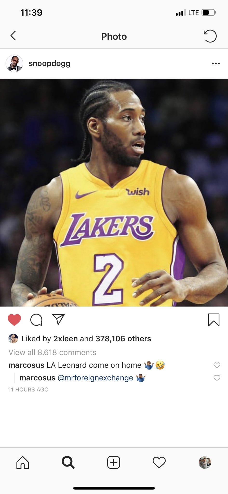 online store bcf77 8d625 Snoop Dog posts a photo-shopped picture of Kawhi in a Lakers ...