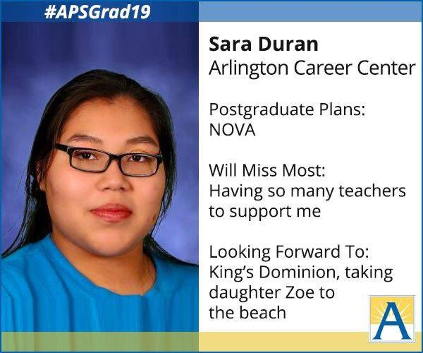 """Sara will be attending NOVA and has won several scholarships."" <a target='_blank' href='http://search.twitter.com/search?q=APSGrad2019'><a target='_blank' href='https://twitter.com/hashtag/APSGrad2019?src=hash'>#APSGrad2019</a></a> <a target='_blank' href='https://t.co/YnRUEYUTeT'>https://t.co/YnRUEYUTeT</a>"