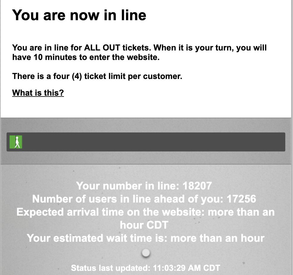 I'm trying to get #AllOut tickets, but I highly doubt this is going to happen.