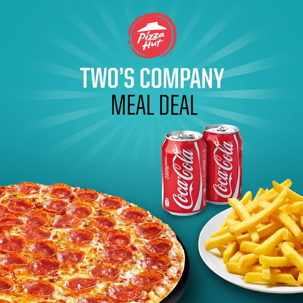 Who is your favourite person to share pizza with? This meal deal is ideal for sharing and includes a medium pizza (plus 4 toppings), garlic bread OR fries OR potato wedges and 2 x 330ml cans #weekend #PHD https://t.co/h1hS4pv2LJ