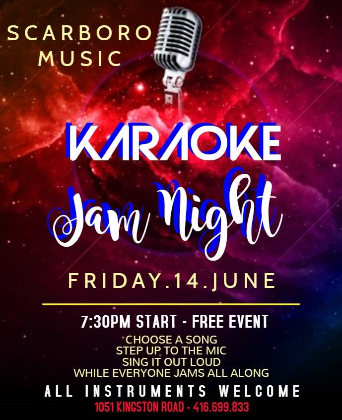 Karaoke jam night tonight - all instruments! Join us tonight @ 7:30pm for a karaoke jam.  Jam along with everyone or come and sing!  1051 Kingston Road - FREE!! #wearemusic #karaoke #jamnight #toronto #the6ix #upperbeaches #musicstore #jam <br>http://pic.twitter.com/qVTuDPXRXY