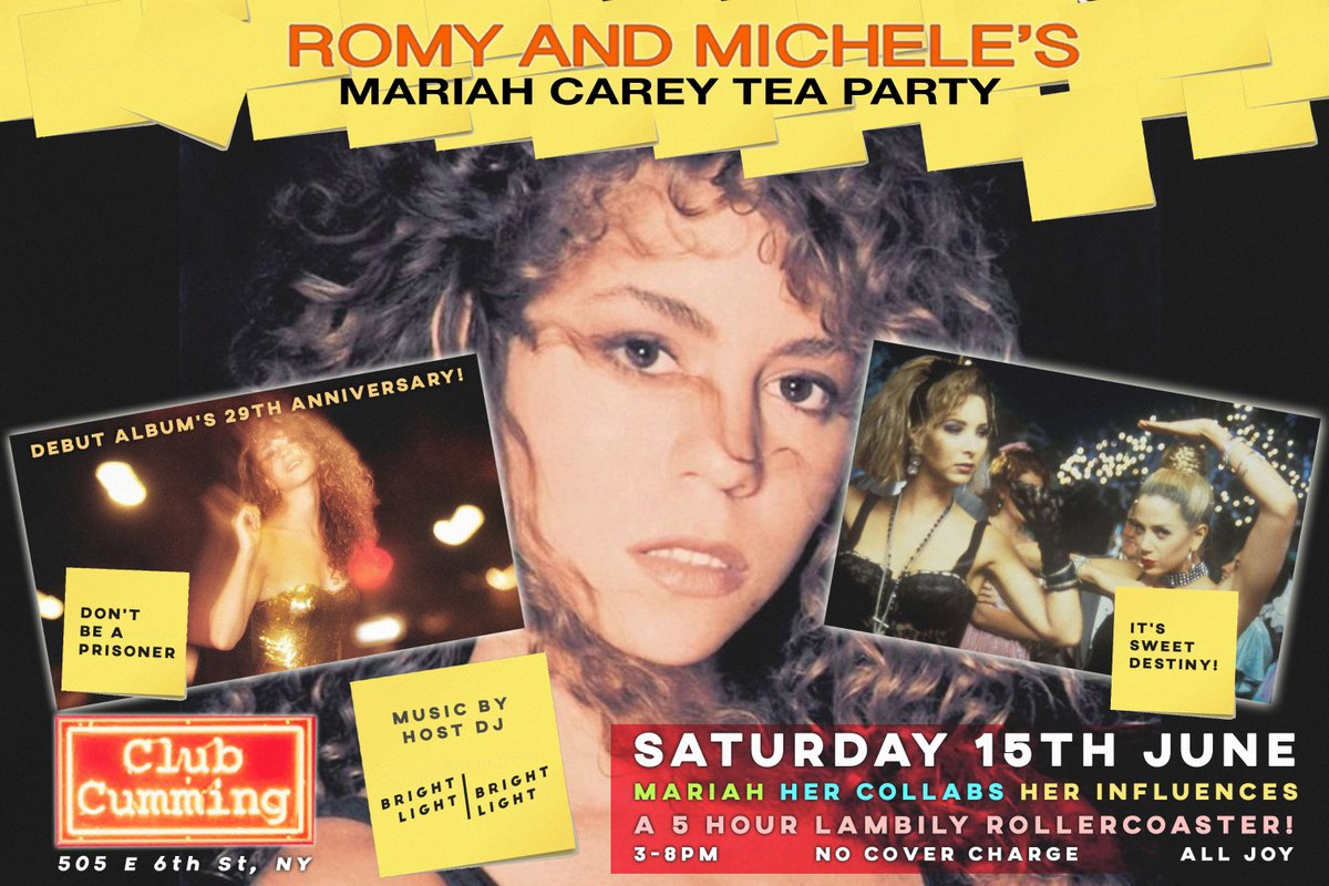 Are you ready for the second @MariahCarey Tea Party tomorrow? Head to @ClubCumming 3-7pm for non-stop #MariahCarey as @brightlightx2 spins her iconic catalogue - hits, bsides, album tracks, remixes and rarities with vintage Mariah magazine covers for charity raffle! #lambily <br>http://pic.twitter.com/uzgz2DW6kh