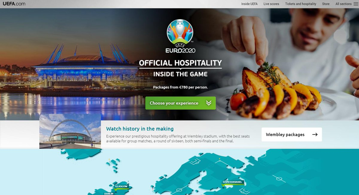 With less than a year to go until @UEFAEURO 2020, we're thrilled to announce the launch of the official #EURO2020 hospitality website. We're proud to be working with @UEFA to promote hospitality packages for all 51 matches across 12 host nations: https://euro2020.hospitality.uefa.com/