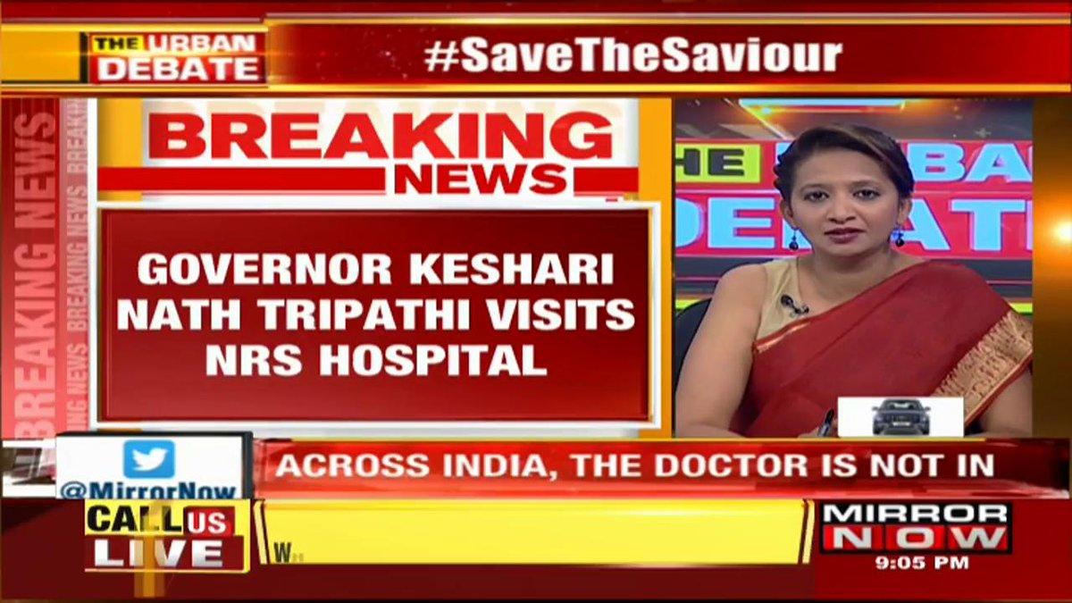 #UPDATE #DoctorStrike in #WestBengal| Governor, Keshari Nath Tripathi visits NRS hospital to meet injured doctor @SreyashiDey with the latest