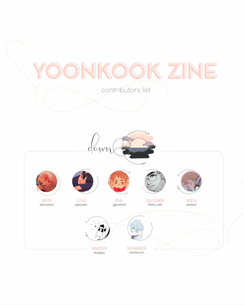 RTs are appreciated 💜  The official contributors list for our Yoonkook Zine is here! Please support all of our talented creators! ✨ We are really excited to continue sharing this project with you!