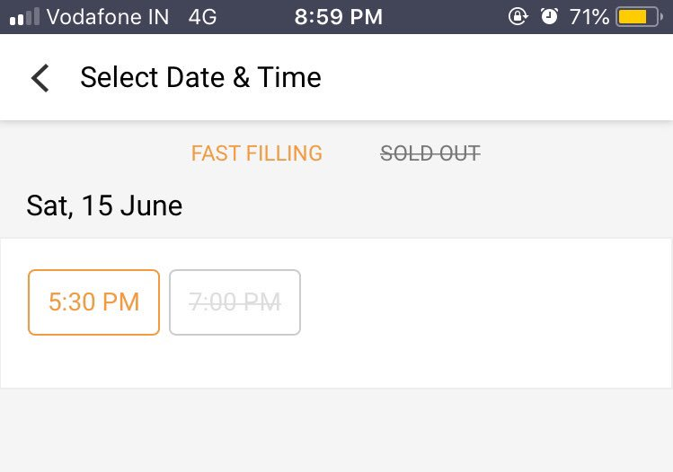 """The """"Prime Time Jokes"""" 7PM show at Grapevine, HSR Layout, Bangalore is now sold out 🙂 Get your tickets for the 5.30 PM show at in.bookmyshow.com/events/prime-t…"""