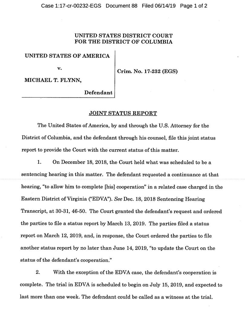 Just in: Michael Flynn's new lawyer and prosecutors ask for another sentencing delay —his new lawyer, Sidney Powell, needs time to get up to speed, and that will give Flynn time to finish cooperating in the EDVA case involving his former associates. They ask to report in 60 days