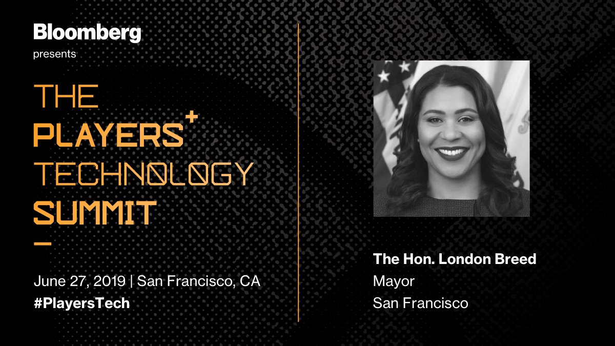 San Francisco has long been a hub for innovation, but what comes next? Don't miss @BradStone's conversation with The Honorable @LondonBreed at our third annual #PlayersTech Summit.  For details: http://bloom.bg/2Rb44O2