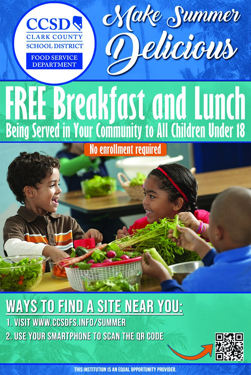 Summer meals are available to ALL children under the age of 18. Visit 🍇🍎🥗http://ccsdfs.info/summer to find which sites are available in your neighborhood for free this summer break. No registration required! Share! 🥕🥙✨