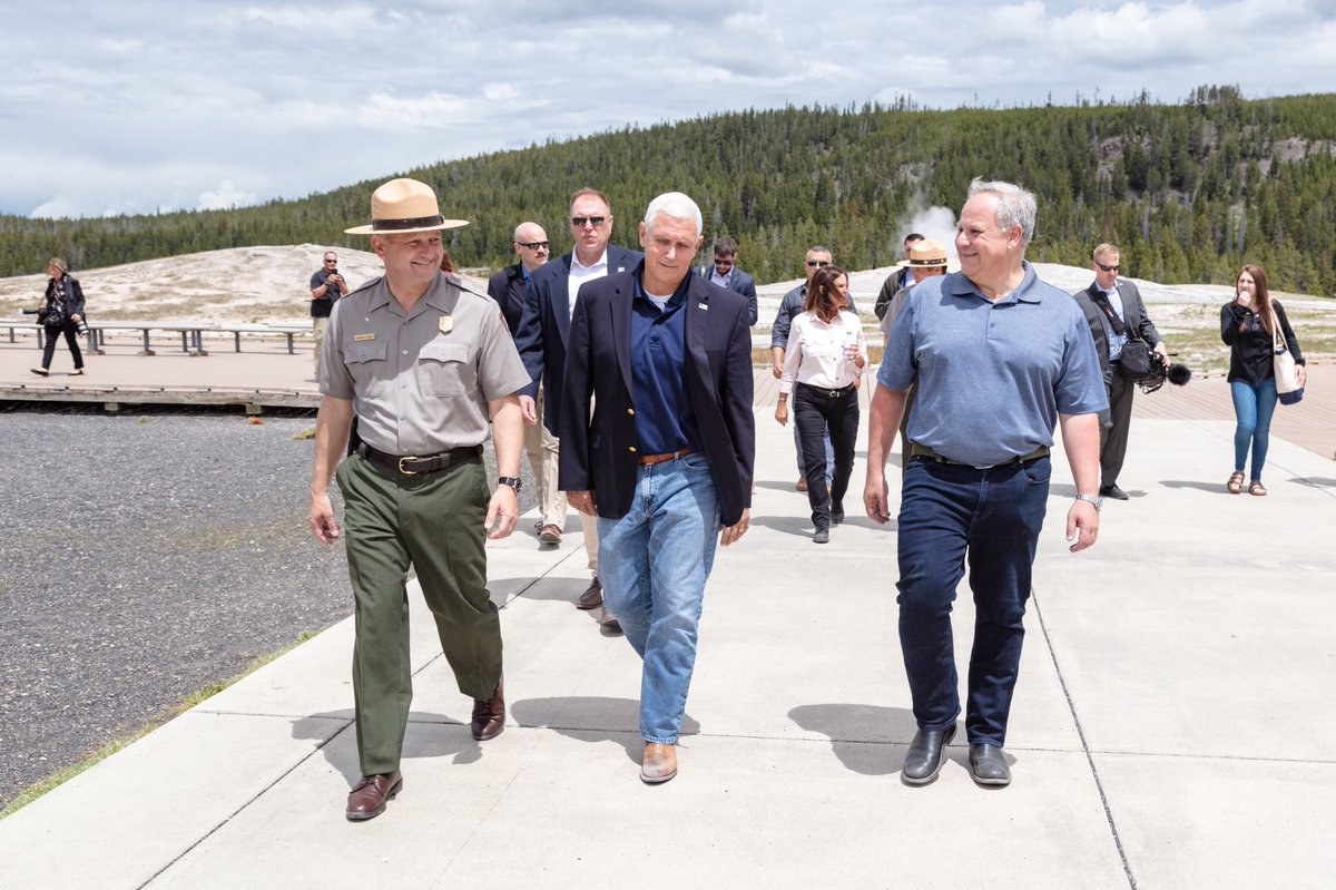 Superintendent Cam Sholly walks with Vice President Pence and Secretary Bernhardt at Old Faithful.