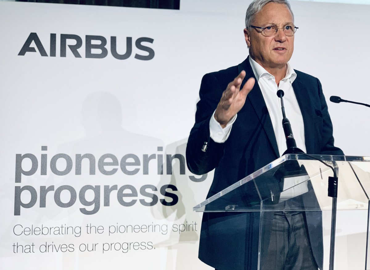 An upbeat & very convincing @Airbus Chief Commercial Officer during his presentation to media ahead of the 2019 Paris Air Show. Christian Scherer is a true #Airbus veteran and an aviation icon with over 30 years in our company. #WeMakeItFly #Airbus50
