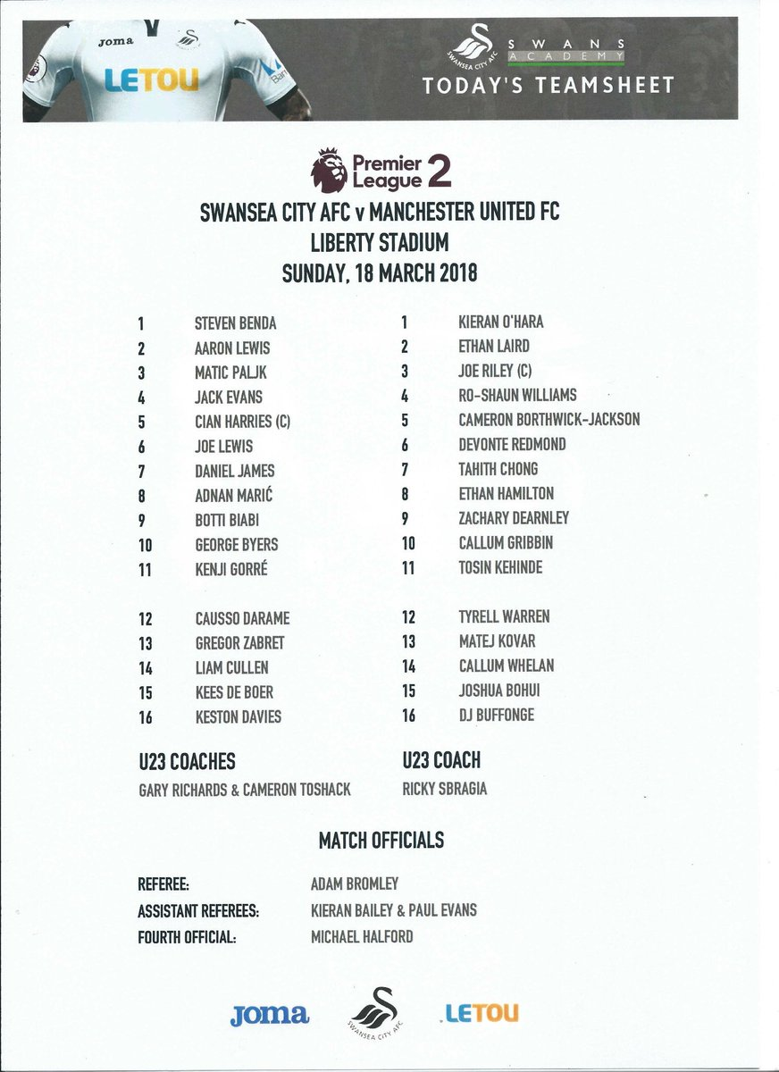 Looking back at some old Team Sheets and saw that new signing @Daniel_James_97 played against our U23s towards the end of the 2017/2019 season  #PL2 #U23 #MUAcademy