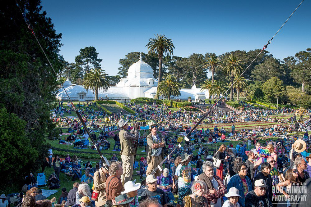 The concert, featuring the iconic songs of 1969 performed by legendary artists alongside new talents in the Bay Area music scene, will run from 6-10PM. The Conservatory's light show, Photosynthesis, will begin at about 9:15PM, transforming the building into a canvas of light art.