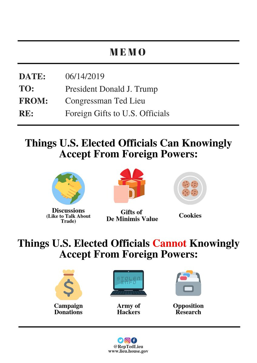 Dear @POTUS: You recently stated that you'd have no problem accepting dirt on a political opponent from a foreign power. Here's a friendly reminder of what U.S. elected officials can and cannot accept. We've been told you prefer one-page memos with pictures. Hope this is helpful.