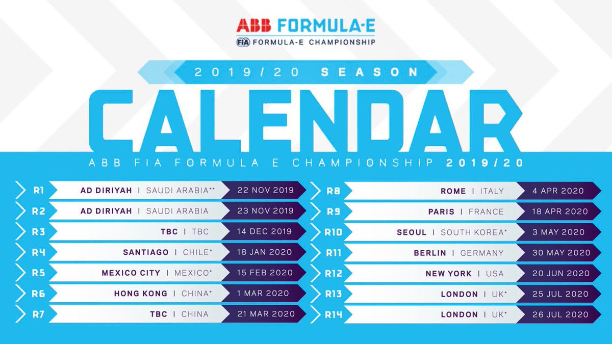 👋 Hello London🇬🇧 / Hello Seoul 🇰🇷Check out the season six @FIAFormulaE calendar.Exciting new additions and some tweaks to the regs.➡️ Read more at: https://www.fiaformulae.com/en/news/2019/june/2019-20-season-calendar-revealed…-#NissanFormulaE #IntelligentMobility