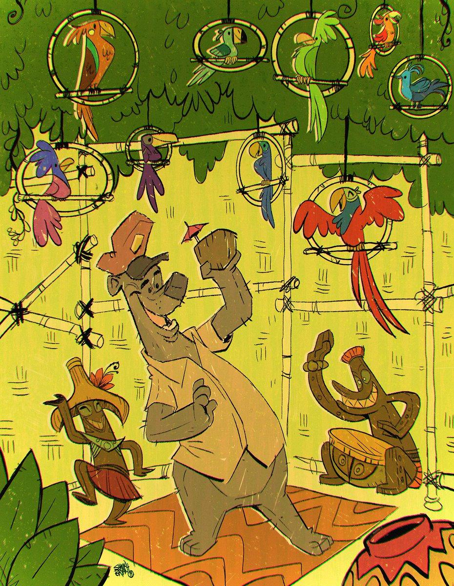 Baloo and the crew in the Enchanted Tiki Room. #disney #baloo #characterdesign #tiki #dolewhip