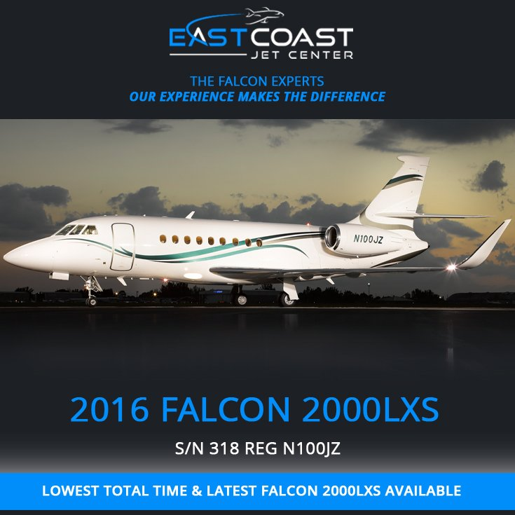 2016 #Falcon #2000LXS available at @EastCoastJetCtr  One owner since new Factory maintained More details at: http://ow.ly/cCwi30oWDxG  #bizjet #bizav #aircraftforsale #privatejet #privateflying #jetforsale #businessaviation