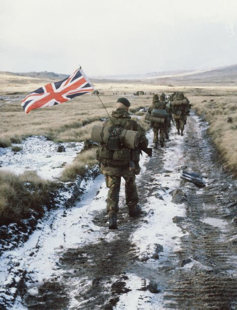 Today in 1982 the Falklands War ended and Royal Marine Peter Robinson tied a Union Flag to his antenna. I returned to the Falklands with him 25 yrs later.