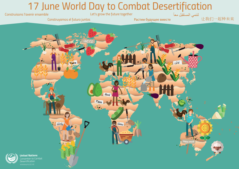 """RT @UNBiodiversity Desertification, land degradation and drought are major threats worldwide. This year we celebrate the #2019WDCD under the slogan """"Let's grow the future together!"""" Find out more 👉 https://t.co/DZvyHQgX27"""