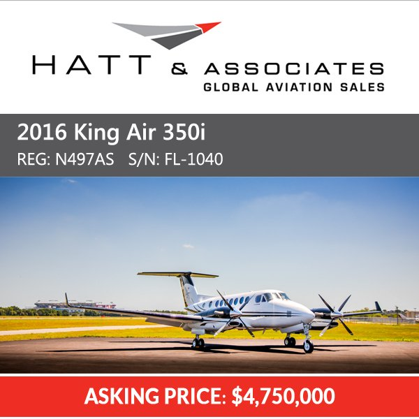 2016 #King Air 350i  available at @Hatt_Aviation   ADS-B Out Collins Pro Line Fusion More details at: http://ow.ly/akn230oWDFy  #bizav #bizjet #leaderluxury #luxurytravel #luxurylifestyle #privatejet