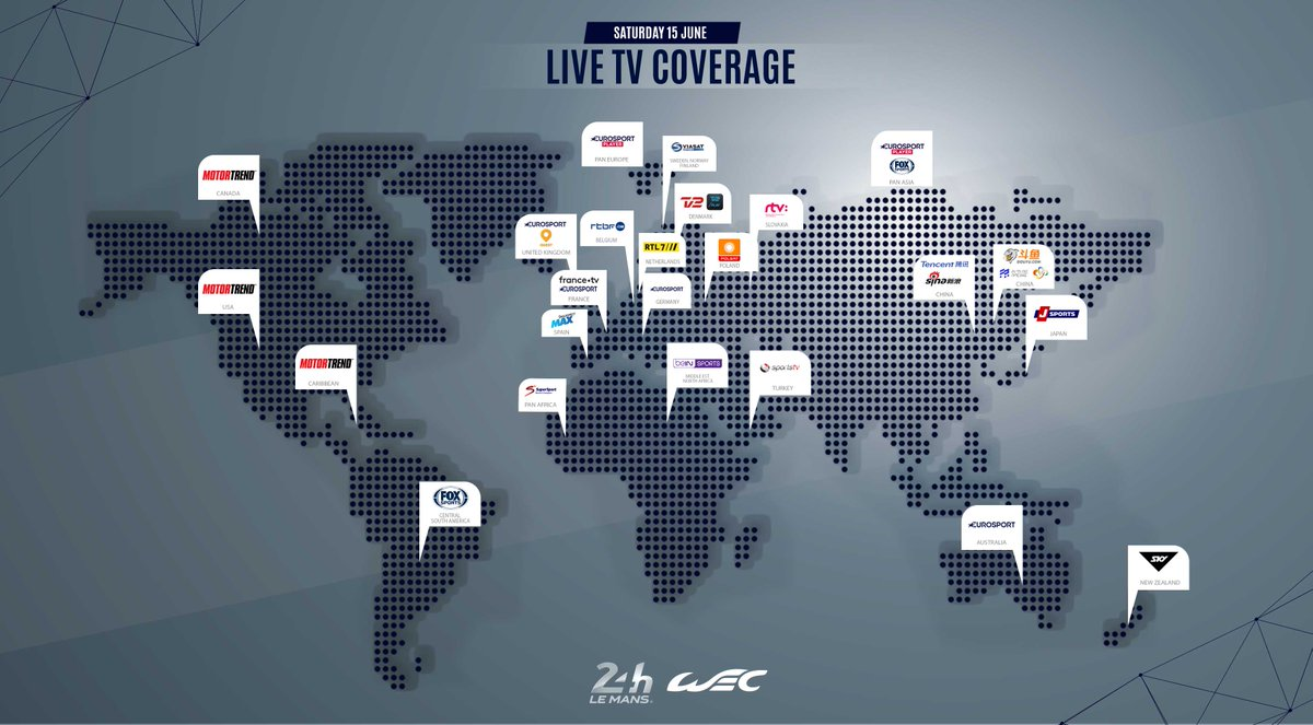 Here are the Live TV channels broadcasting the RACE of the year around the world! 🌍  #LeMans24 #WEC #Superfinale #Motorsport