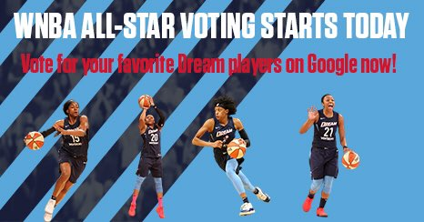 All-Star voting runs from today to July 9th. You can vote every day for up to 10 players — don't forget to cast your vote to send your favorite Dream players to the All-Star game in Las Vegas! #DreamOn
