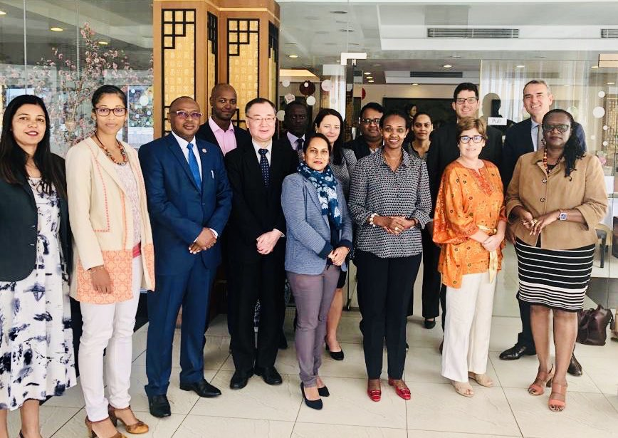 Honored to chair @Mauritius Develpment Partners Group(DPG) and thanks WB for hosting today. Coordination and partnership are key. Aligning our support to national priorities is a must for sustainable development. <br>http://pic.twitter.com/9WNdgeWheQ