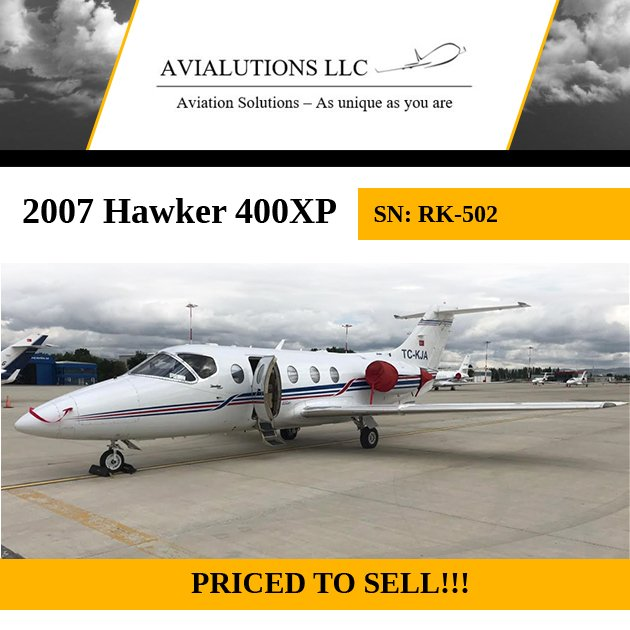 The perfect jet - 2007 #Hawker #400XP available though Avialutions LLC On engine programs Fresh inspections More details at: http://ow.ly/iuYl30oWDq9  #bizjet #bizav #aircraftforsale #privatejet #privateflying #jetforsale #businessaviation