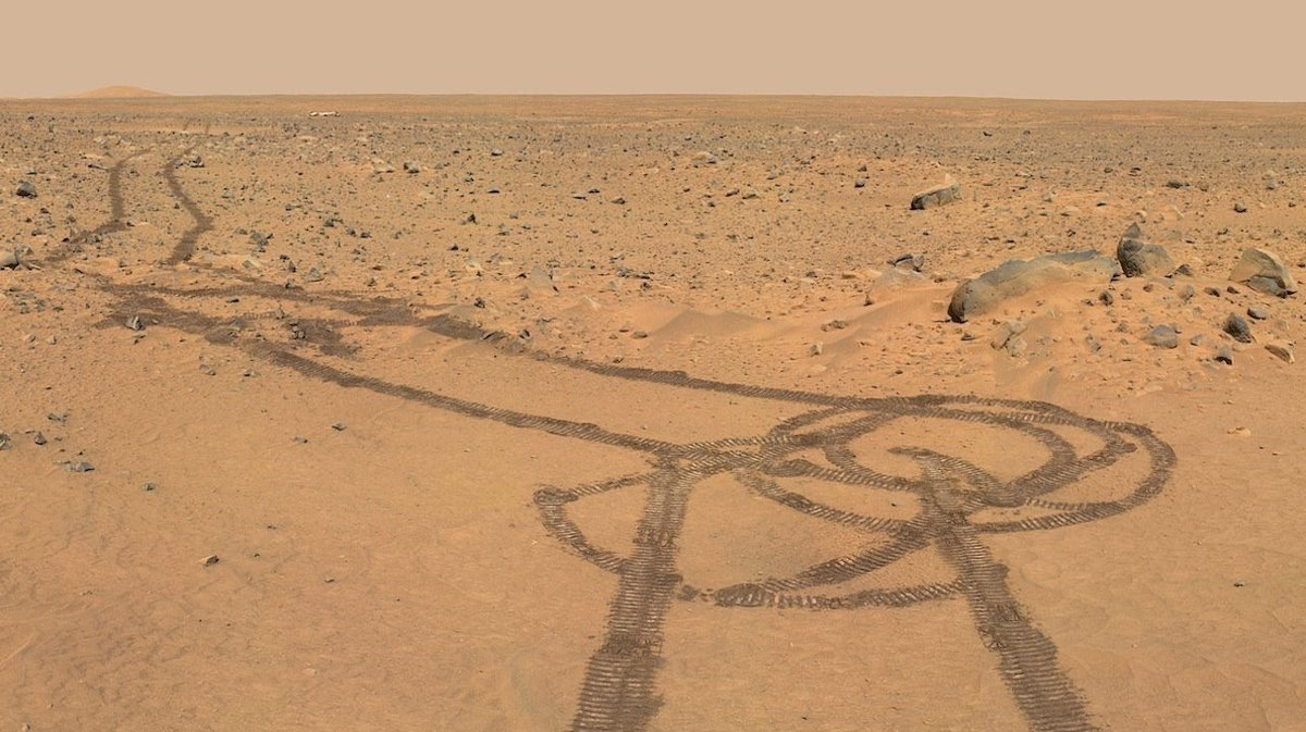 Tracks on Mars made by the rover Curiosity.