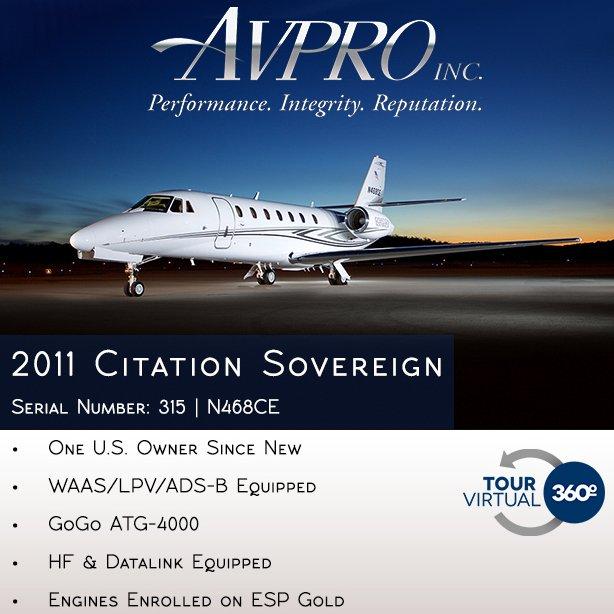 New to market -2011 #Citation #Sovereign at @AvproJets  Engines enrolled on ESP Gold APU enrolled on MSP Gold More details at: http://ow.ly/d0az30oWDsJ  #bizjet #bizav #aircraftforsale #privatejet #privateflying #jetforsale #businessaviation