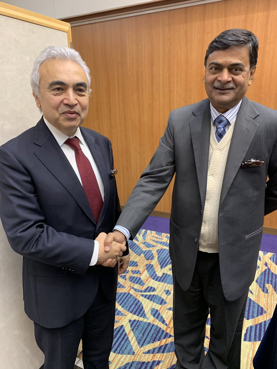 Great to meet Minister @RajKSinghIndia at  #G20. India has taken big strides building wind and PV generation, integrating higher shares of renewables and providing access to electricity for hundreds of millions. Looking forward to working with Minister Singh over coming years.