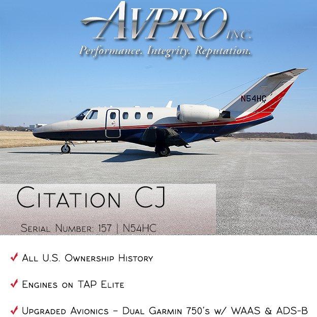 #Citation #CJ available at @AvproJets  Engines on TAP Elite Upgraded avionics - Dual Garmin 750's w/ WAAS & ADS-B More details at: http://ow.ly/HUtR30oWDHn  #bizjet #bizav #aircraftforsale #privateaviation #privatejet #privateflying #jetforsale #businessaviation