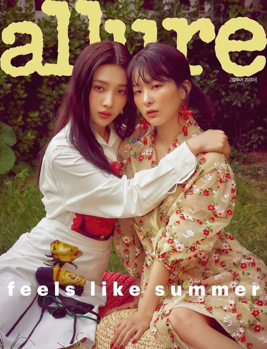 《🌼 Feels Like Summer 🌤 》 @RVsmtown menghiasi summer issue majalah @allurekorea edisi Juli 2019 yang terdiri dari 2 varian cover: a) #Joy + #Seulgi b) #Wendy + #Irene + #Yeri #RedVelvet akan tampil di 18 halaman interview + photoshoot.