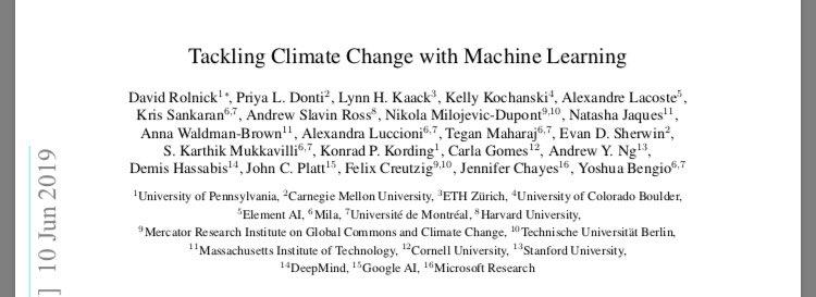 気候変動×機械学習論文(以前燃えたアレではない)読んでるんですが、著者、ボリューム、referencesがぶっ飛んだ内容難解な数式が並んでるわけではないので、読破時間はともかく特別な知識がないと読めないというのはなさそうTackling Climate Change with Machine Learning