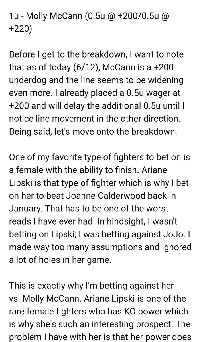 1u - Molly McCann (0.5 @ +205, 0.5 @ +220)  Had this breakdown typed up yesterday, but forgot to post it. I can't believe I'm actually looking forward to this fight. I'll probably re-post this next week since #Bellator222 is going on right now. #UFCGreenville