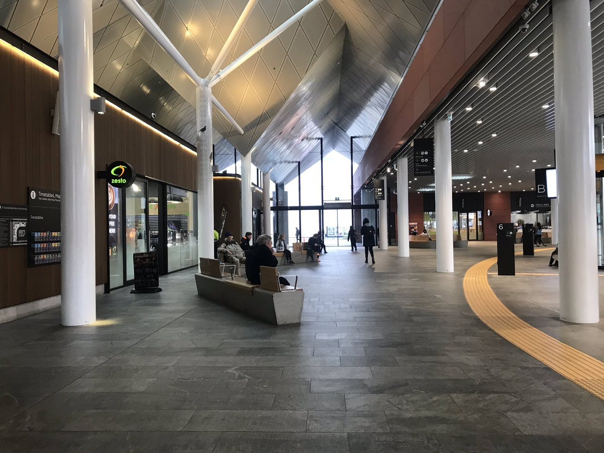 As ever, highly impressed by the #Christchurch Bus Interchange. Always a dignified customer experience and it has plenty of capacity for growth. The city's bus system has some good bones which deserve to be built on. <br>http://pic.twitter.com/xJl07GZPE4