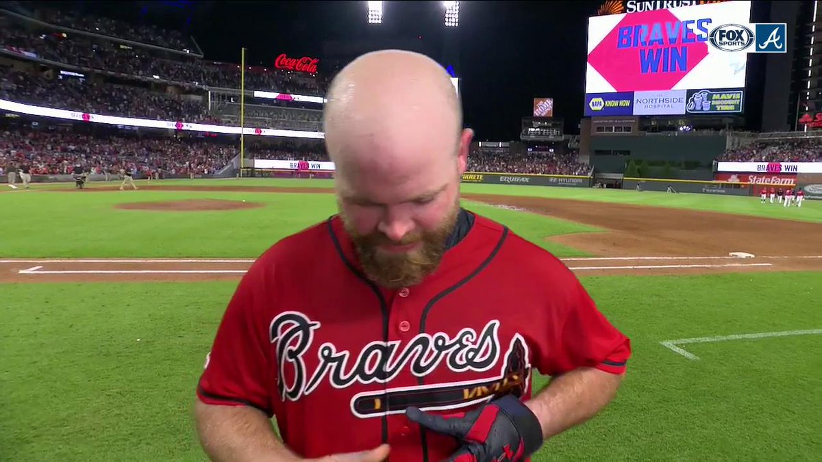 """""""I am overcome with emotions right now. This means everything to me.""""  — Brian McCann extends the @Braves winning streak to eight games as they come back to beat the Phillies.   #Braves 