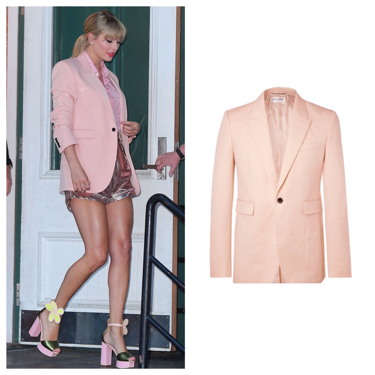 To finish her look, @taylorswift13 wears pink on pink @YSL (blazer, mens sold out; blouse, $1.3k) <br>http://pic.twitter.com/pxU36xF1mS