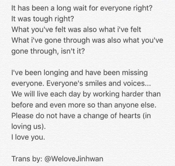 """Hanbin to iKONIC  """"What you've felt was also what I've felt. What I've gone through was also what you've gone through, isn't it?""""  We are all in these together. I will never change my heart in loving you all! Never!  #AllFor7KON #7OGETHEREWITHiKON #ForHanbin<br>http://pic.twitter.com/kA6VpVdemD"""