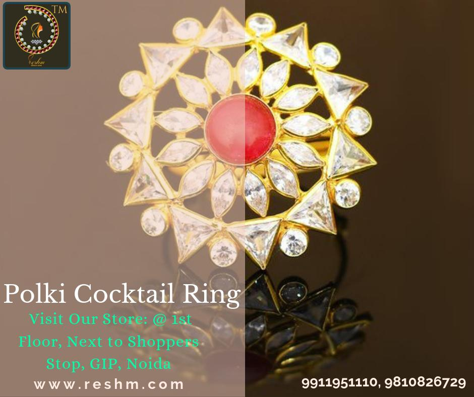 the amazing gold and Polki Cocktail Ring by Reshamm Shop now:  or Visit our store @ 1st Floor Next to Shoppers Stop GIP Noida #reshamm #Lightweightgoldjewellery #jewelleryinnoida #jewelleryindelhi #jewelleryinncr #goldlovers #jewelleryfans #fashion