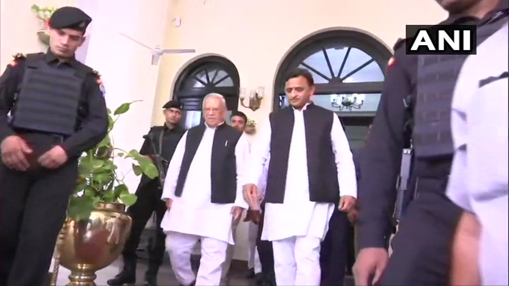 Former Chief Minister and Samajwadi Party president Akhilesh Yadav leaves after meeting Governor Ram Naik at Raj Bhavan. Akhilesh Yadav handed a memorandum to the Governor over law and order situation in the state.