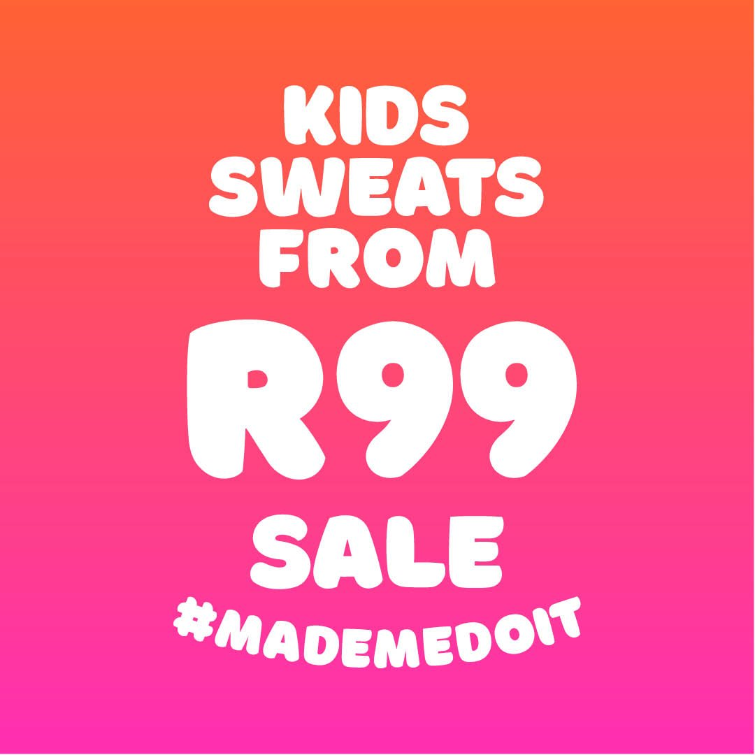 https://t.co/TAEcgX0CoL! UP TO 50% OFF kids sweats (ages 2-14) on sale RIGHT NOW from R99. Don't miss out get them in-store or online while stocks last!   https://t.co/qbo9WwWaRZ https://t.co/eEAw3K9rZG